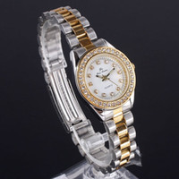 Wholesale Small Case Lady Crystal Embed Quartz tone STL Stainless Steel Wristwatch White Dial N
