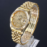 Wholesale Men s Golden Dial Date Quartz Stainless Steel STL Crystal Watches N