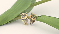 Wholesale 10pairs Archaized Studs Bronze Copper Vintage Silver Owl Earrings Lady Womens Fashion Jewelry