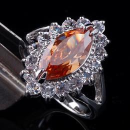 Lady Marquise Cut Champagne Citrine Crystal Band Ring Silver Tone Gold GF Size 8 Gemstone J0326
