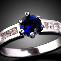 Wholesale eLuna Blue Sapphire Women Elegant Cocktail Ring Jewelry Size O Silver Tone GF Gemstone J0357