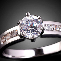 Wholesale eLuna Clear White Topaz Lady Cocktail Ring Fashion Size Silver Tone Gemstone Gold Filled J0360