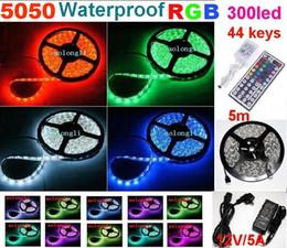 NEW 25m 5050 SMD 300led RGB LED Strip Light 60leds m Waterproof strips llighting + 44 Keys Remote IR Controller+ Power Adapter