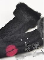 Wholesale hot sales wolesale Korea Knitting Wool Rabbit Hair Off fingers Gloves