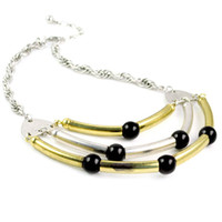 Wholesale alloy pipes Black plastic beads ornament Hollow necklace fashion jewelry NL