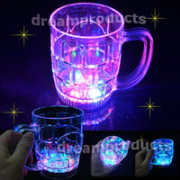 Wholesale 500ML Water Activated LED Light Up Flashing Rocks Glass Drinkware Lamp MUG LED drink Beer Cup