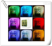 Wholesale 10pcs Color changing Alarm clock Led alarm clock Colors Change Digital Alarm Clock