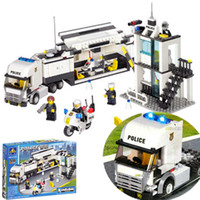 Wholesale 2016 New Enlighten Child DIY Educational Truck police building block Compatible Assembles Particles Block children kid toy gift