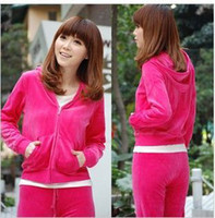 Wholesale Brand New Women s velour tracksuits Hoody Hoodies sportswear track suit Size S M L XL set AA