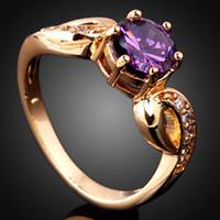 Fashion amethyst cocktail ring - Size Cute Round Cut Purple Amethyst Crystal Lady Cocktail Gemstone Ring Y Gold J0420