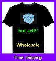 Unisex led shirt - Hip Hop Music LED T Shirt Up and Down Light Sound Activated Equalizer EL LED T Shirt