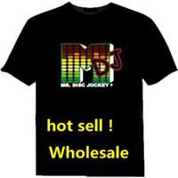 Wholesale Xmas Gifts LED T Shirt Sound Activated M DJ Shape LED Light T Shirt Shirts EL Equalizer T Shirt