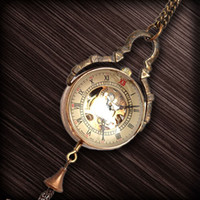Wholesale Fashion Men Women Sweater Necklace Crystal D Fob Chain Watch Mechanical Timepiece Dress Ornament