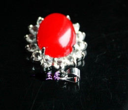 Natural red agate pendant. Fine red agate inlaid diamond pendant