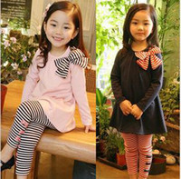 Wholesale 2016 Girl s Clothing Dress Spring Autumn Outfit Bowknot Dress Leggings
