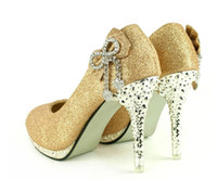 Wholesale New Women lady Waterproof Bowknot Rhinestone Bow Dazzling High Heels Shoes Wedding Bridal shoes gold red color