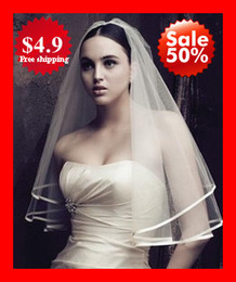 Wholesale Fashion HOT White Ivory Satin Ribbon Net Two Layers Bridal Veils Wedding Bridal Veil