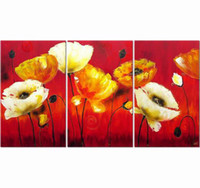 Wholesale Blooming Flowers Yellow and Red Oil Paintings Modern Abstract Oil Painting on Canvas Panels