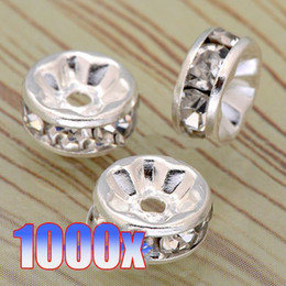 Wholesale 6MM Wheel Shaped Silver Plating Clear Crystal Rhinestone Rondelle Spacer Beads Findings