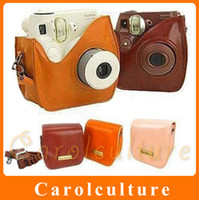Wholesale Fuji Instax Leather Bag with Strap Brown Coffee Fujifilm Mini S Polaroid Camera Case South