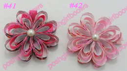 free shipping 20ps petal flower clips loopy flower clips silk flower clips rose ribbon hair bows