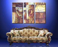 Cheap Delicate Oil Wall Art - Golden Group Modern Abstract Oil Painting Canvas for Living Room - 3 Panels