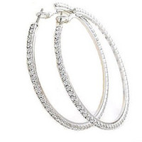 Wholesale circle earrings jewelry circle with diamond Bling fashion piercing earring ornament