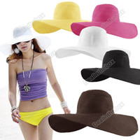 Wholesale women Wide Large Floppy Brim Summer Beach Sun Straw Beach Derby Hat Cap Packable Flexible HK Post