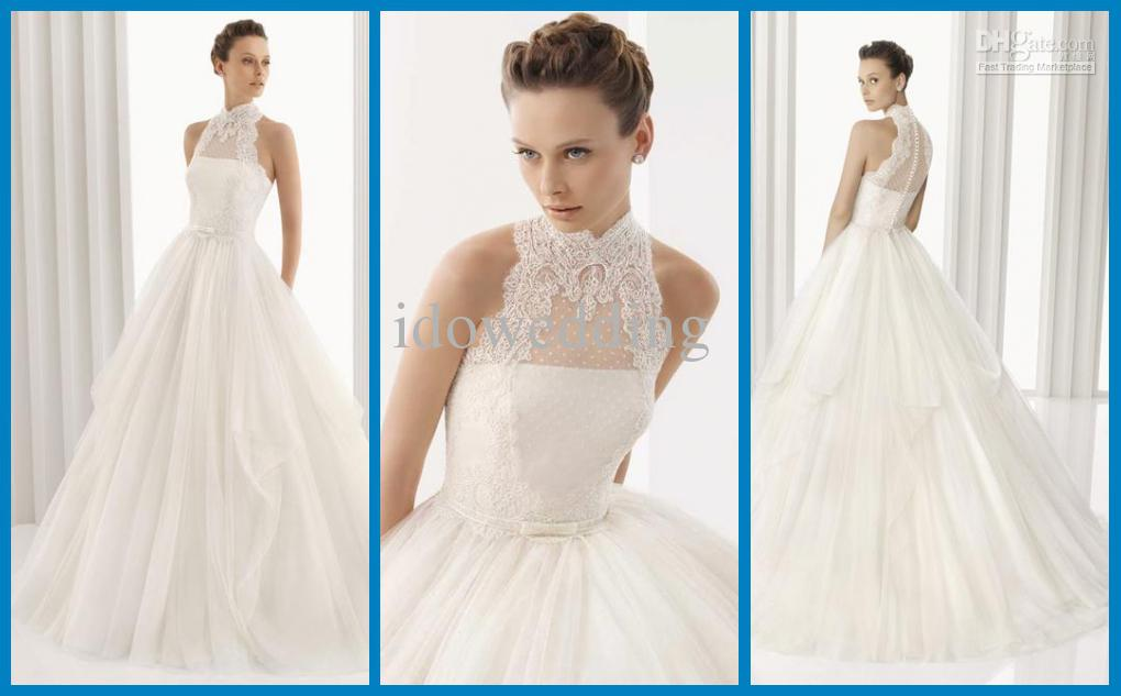 2014 white empire wedding dress high collar lace for High collared wedding dress