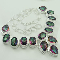Wholesale Multigems mystic topaz gemstone fashion silver jewelry necklace jewelry M001