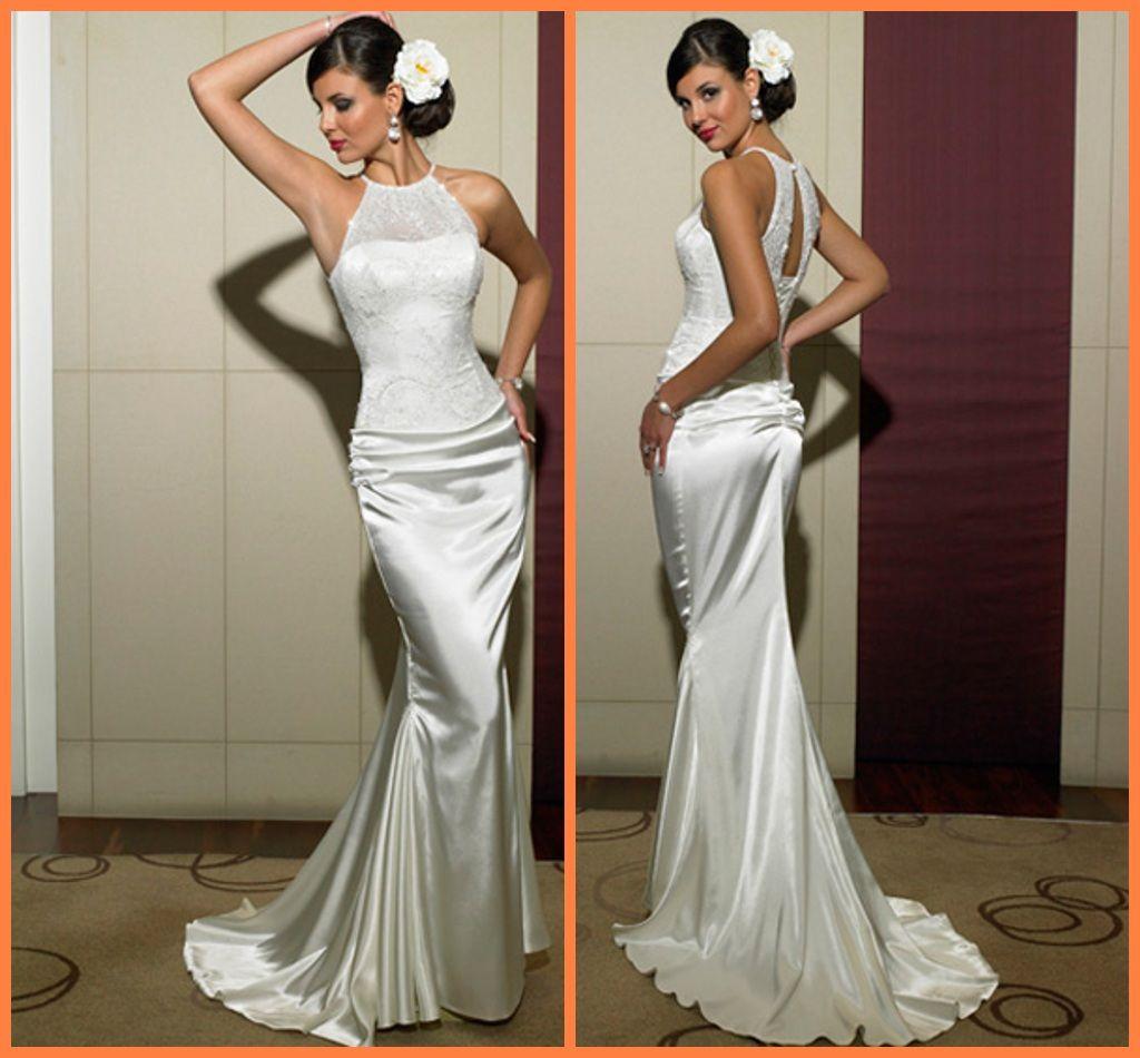 Slim fit white column jewel brush wedding dress sleeveless for Slim white wedding dresses