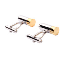 Wholesale Men Bullet Cufflinks Unique Novelty Fashionable Accessory Two Tone One Pair Metal Cufflinks Gold Silver pairs F00771