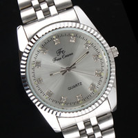 Wholesale Min Order Pieces Men Wristwatch Silver tone Stainless Steel Crystal Quartz Dress Watches N