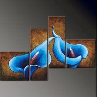 Cheap Blue Calla Lilies - Modern Abstract Oil Painting Art - 4 Panels - Free Shipping - Oil Wall Art