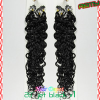 Wholesale 200s s quot Loop Micro Ring Hair Extensions loose curly g s jet black Human deep wave Micro Links Hair Extension free ChinaPost