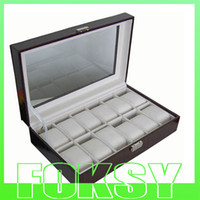 Wholesale 12 WATCH BOX PU LEATHER DISPLAY CASE EXHIBITIONS COLLECTION BOX BY FOKSY