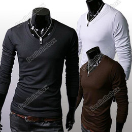 Wholesale Men s Slim Fit Solid Color Stylish V Neck Long Sleeve T shirts Tee Tops Colors HK Post