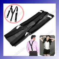 Wholesale Y back Suspenders Clip on Adjustable Unisex Pants Y back Suspender Braces Black Elastic HK Post
