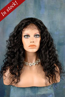 Wholesale 2013 Sexy beautifull quot quot Deep wave B Off BLack Indian Remy Human Hair Swiss Lace Front Wigs