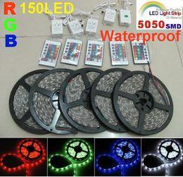 50m lot Flexible LED Strip Light SMD 5050 RGB Lamp 5m 150led Waterproof led light IP65 +24key IR Remote 30LED Festival