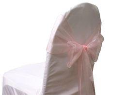 50 Pcs   lot Pink Organza Sashes Chair Cover Bow Sash Wedding Party Banquet Hot