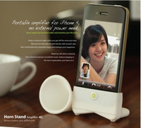 For Apple iPhone speaker for mobile phone - 300pcs Horn Stand Silicon Mini Speaker with Mobile Phone Holders for iphone