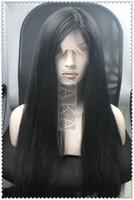 kinky straight full lace wigs - full lace wig indian human hair top quality jet black inch kinky straight Wig
