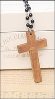 South American wooden crosses - Wooden cross sweater chain Cross pendant necklace SZ