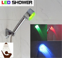Wholesale Shower Spray Light - water glow sensor spray head temperature control Shower Bathroom Sprinkler LED faucet 3 Color light