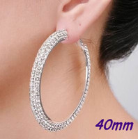 Wholesale Hoop Earrings Rows Basketball Wives Crystal Silver Polish MM Pairs JE7014S