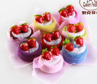 100% Cotton bath things - Heart series wedding article in return New Year gift cake towel wedding things double strawberry d