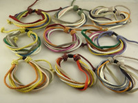 Wholesale Best Selling Handmade Leather Hemp Wrap Bracelets Adjustable Stock Factory Price Mix Order