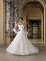 Wholesale 2013 New Sexy Strapless Sweetheart Sleeveless A Line White Satin Lace Wedding Dresses Veil