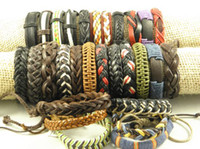 Wholesale Stylish Handmade Leather Hemp Wristband Surfer Bracelets Jewelry Great Price Mix Order